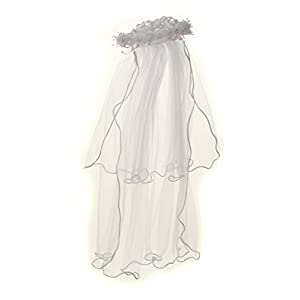 BNY Corner Girls First Communion Veil Rhinestone Accented Flower Crown White