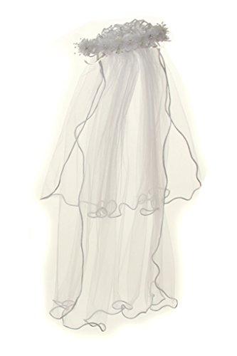 BNY Corner Girls First Communion Veil Rhinestone Accented Flower Crown -