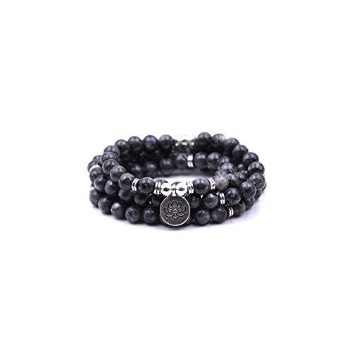 VBTY Beaded Stretch Bracelet, Stone Beads,18 Colors Women Amazonite 108 Mala Beads Bracelets Lotus Charm Yogi Bracelet Necklace Fashion Jewelry Smooth Black ()