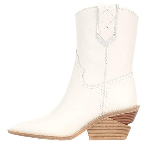 (Themost Womens Cowboy Western Boots Wedge Heel Shoes Mid Calf Combat Boot (10, White))