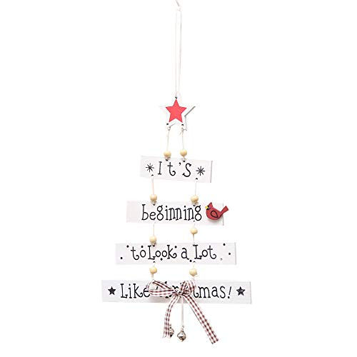 Kanhan Christmas Decorations Tree Door Wall Ornament Letter Patterned Hanging Wood Crafts Small Wooden Sign (White)