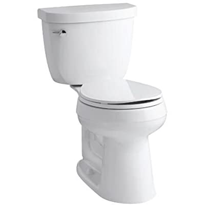 Kohler K-3888-0 White Cimarron 1.6 GPF Two-Piece Round Comfort Height Toilet with AquaPiston Technology - Seat Not Included