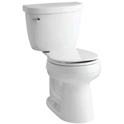 Height Two Piece Round Front (KOHLER K-3887-0 Cimarron Comfort Height Two-Piece Round-Front 1.28 GPF Toilet with AquaPiston Flush Technology and Left-Hand Trip Lever, White)