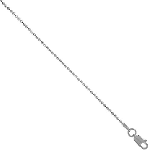 Sterling Silver Faceted Pallini Bead Ball Chain Necklace 1.5mm Rhodium finish Nickel Free Italy, 18 inch ()