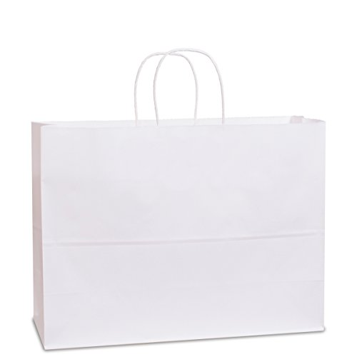 BagDream 16x6x12- 50pcs White Kraft Paper Bags with Rope Handles for Shopping, Grocery, Mechandise, Party, Gift Bags, Large Size 100% Recyclable Paper Bags