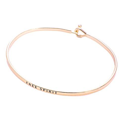 SpinningDaisy Personal Mantra Message Cuff Hook Bracelet (Free Spirit-Gold)