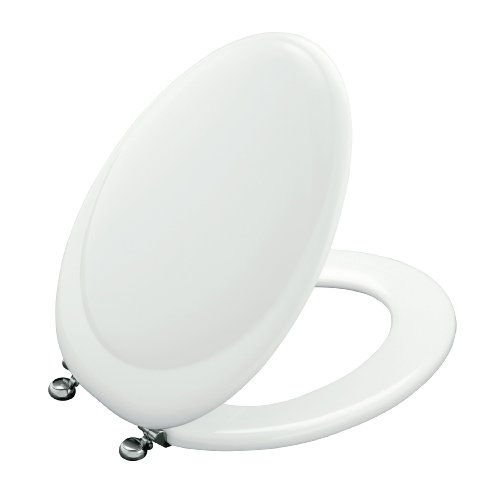 KOHLER K-4615-SN-0 Revival Elongated Toilet Seat with Vibrant Polished Nickel Hinges, White