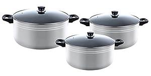 Major-Q 6 PCS Nonstick X-Large Pots Kitchen Cookware (6pcs set Silver)