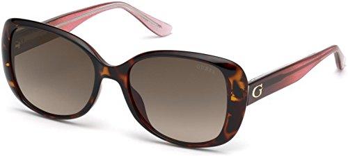 GUESS Women's Gu7554 Square Sunglasses, dark havana & gradient brown, 54 mm