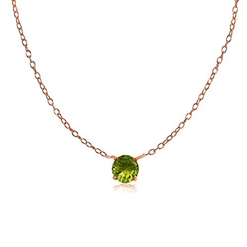 (Rose Gold Flashed Sterling Silver Small Dainty Round Peridot Choker Necklace)