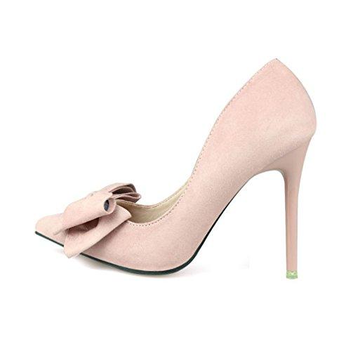 Cybling Mode Vrouwen Puntschoen Jurk Pompen Voor Bruiloft Stiletto Hakken Bowtie Schoenen Roze