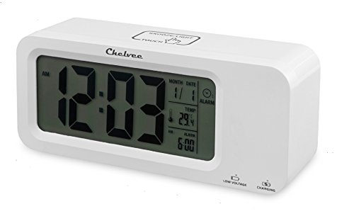 Chelvee Alarm Clock, Time Date Temperature Display, Snooze, 3 Groups Alarm Time, Weekday Alarm Settings, Built-in Rechargeable Lithium Battery Operated (White)