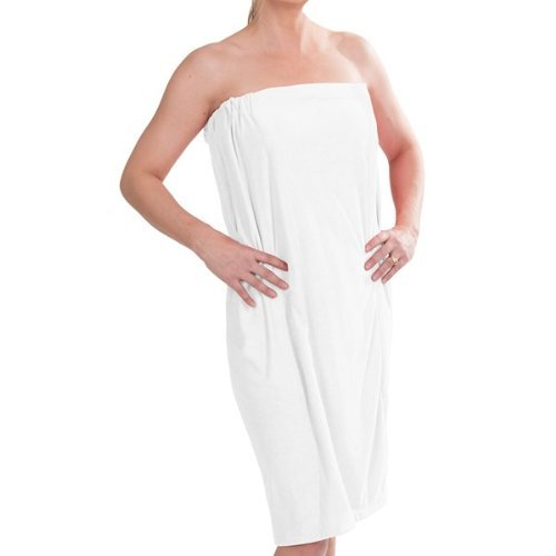 La La Spa Robe - DII Women's Adjustable Microfiber Plush Spa Bath Shower Wrap For College Dorms, Pools, Gyms, Beaches, Locker Rooms, Bathroom (55.5 x 32.5) - White