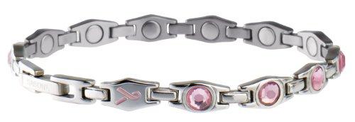 Sabona Lady Executive Ribbon Magnetic Bracelet (Silver/Pink, Small /6.5)