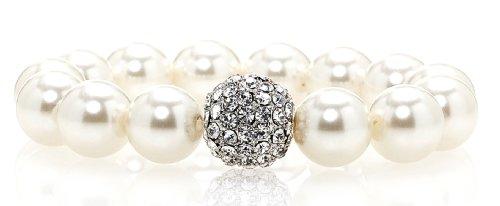 White Pearl Bracelet with Swarovski Crystal