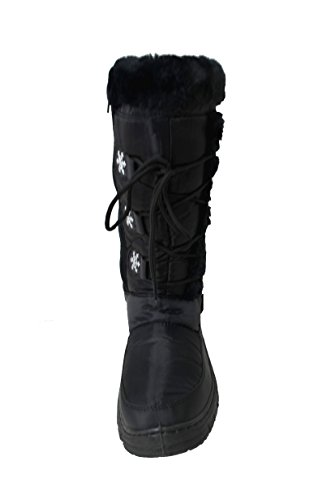 Happy Bull Womens Winter Snow Boots Water Resistant Tall Lace Up Winter Boots Black (A-Marley-03) Black kTNo4pK