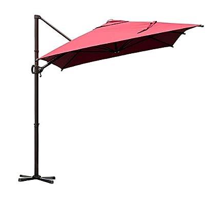 Abba Patio Offset Cantilever Umbrella Outdoor Patio Hanging Umbrella with Cross Base and Umbrella Cover