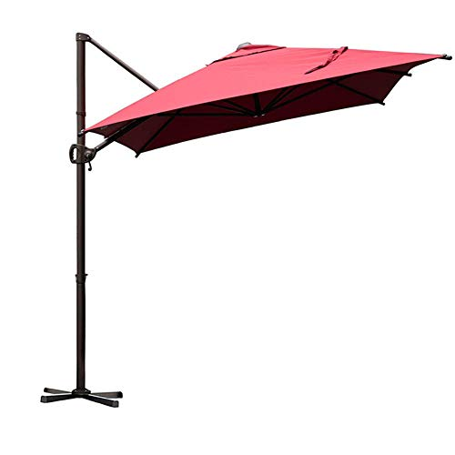 Abba Patio Offset Cantilever 9 by 7-Feet Rectangular Patio Hanging Umbrella with Cross Base, Dark Red