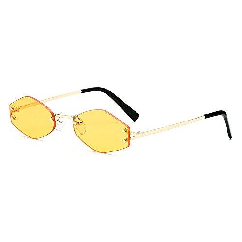conducir lente Color marco de de gafas señora Amarillo sin gafas la irregular Personalidad unisex mujeres para de la sol de UV protección sol hombres polígono pequeñas Amarillo colorido viajando para 4pTZwx5q