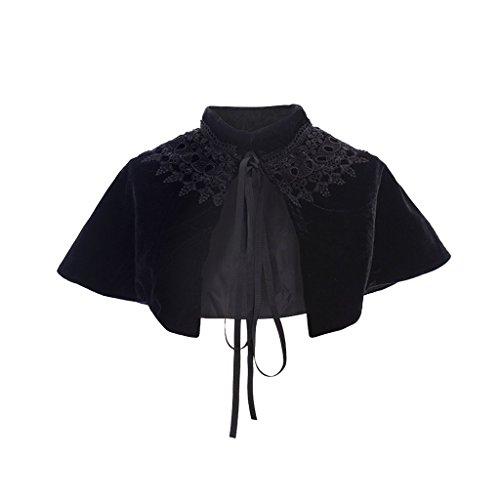 COUCOU Age Velvet Cape Short Lace Shawl Lolita Cloak for Women Girls -