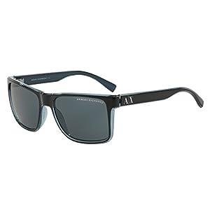 Armani Exchange AX 4016 Unisex Sunglasses Black / Transp. Blue Grey 57