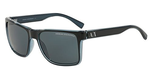 Armani Exchange AX 4016 Unisex Sunglasses Black / Transp. Blue Grey - Men Designer Sunglasses
