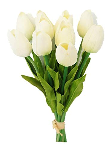 Sweet Home Deco Latex Real Touch 13'' Artificial Tulip 10 Stems Flower Bouquet for Home/Wedding (White)