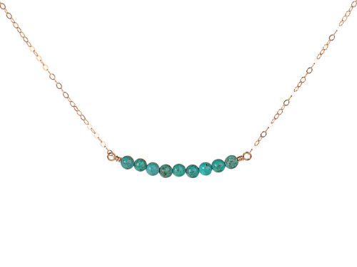 EFYTAL Gold Filled Blue Beaded Bar Necklace - Modern, Simple, Dainty and Delicate, Great for Layering
