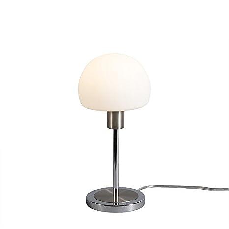 QAZQA Moderno Lámpara de mesa BAUHAUS LED acero Vidrio ...