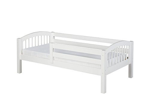 (Camaflexi Arch Spindle Style Solid Wood Day Bed with Front Rail Guard, Twin, White)