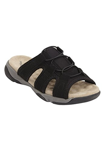 Comfortview Femmes Large Mule Sandale Sport Noir