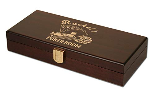 (DA VINCI Mahogany Personalized Wood Poker Case with 100 Chip Capacity (Chips not Included) (Aces))