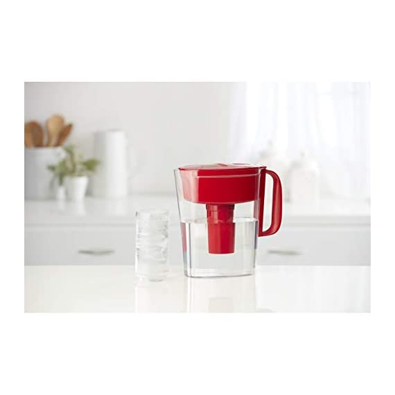 """Brita Small 5 Cup Metro Water Pitcher with Filter - BPA Free 8 SMALL WATER PITCHER: This small, plastic water filtration pitcher is easy to pour and refill. The space efficient pitcher fits perfectly on refrigerator shelves and is great for families. Height 9.8""""; Width 4.45""""; Length/Depth 9.37""""; Weight 1.39 pounds CLEANER AND GREAT TASTING: The BPA free Brita filter reduces chlorine (taste and odor), copper, mercury, zinc and cadmium impurities found in tap water for cleaner great tasting water. *Substances reduced may not be in all users' water FILTER CHANGE REMINDER: For optimum performance, a helpful status indicator on your filtered water pitcher notifies you when your water filter needs to be replaced"""