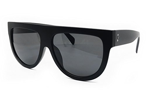 - O2 Eyewear 6520 Oversize XL Mirror Tint Havana Shadow Style Designer Flat Top Womens Mens Sunglasses (BLACK, XL)