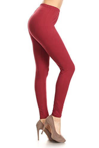 Mulberry Color - Leggings Depot Ultra Soft Basic Solid REGULAR and PLUS 39 COLORS Best Seller Leggings Pants Carry 1000+ Print Designs (Plus Size (Size 12-24), MulBerry)