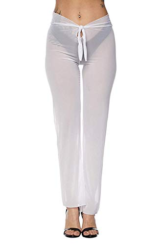 Doqcey Women's Perspective Sheer Mesh Ruffle Pants Swimsuit Bikini Bottom Cover up (A White, Medium)
