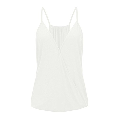 Price comparison product image Paymenow Solid Camisole for Women,  Clearance Sexy Spaghetti Strap V Neck Wrap Ruffled Vest Tank Tops Shirts (XL,  White)