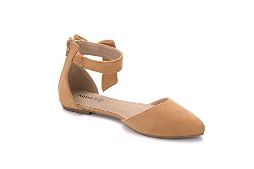 Mila Lady Jocelyn Fashion New Cinturino Alla Caviglia Con Fiocco A Forma Di Punta Di Donna Womans Camel