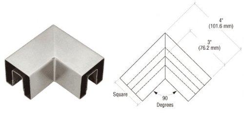 Brushed Stainless Square 2'' 90 Degree Horizontal Corner for 1/2'' Square Glass Cap Railing