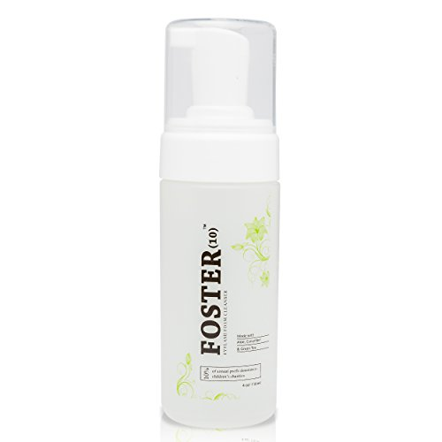 Foster(10) Eyelash Extension Cleanser -Foaming, Safe for Daily use and is Oil Free, Gentle and made with Pomegranate, Chamomile, Green Tea, Cucumber Extracts, Cruelty Free