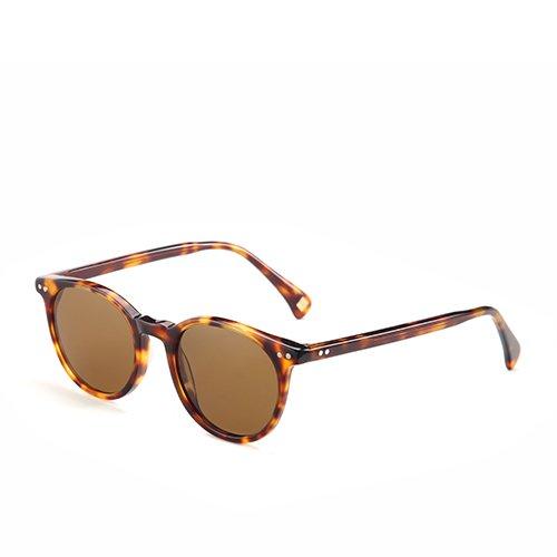 Sunglasses C02 gafas hombres sol Brown G15 clásica Demi en de C03 Anteojos Unisex Gafas acetato Demi polarizadas Guía redonda TL dqTwCEd5