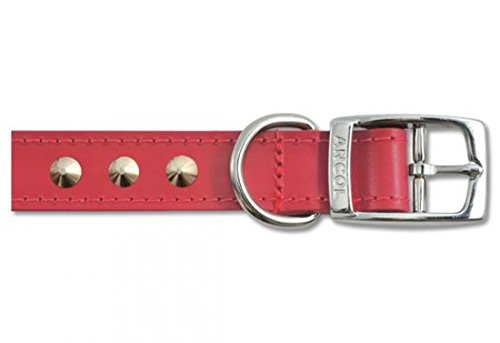 Ancol Leather Stud Collar Red 45-54cm Size 6