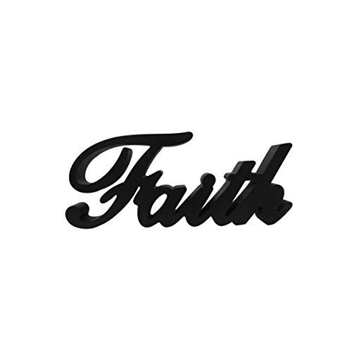 CVHOMEDECO. Matt Black Wooden Words Sign Free Standing ''Faith'' Tabletop/Shelf/Home Wall/Office Decoration Art, 10-3/4''L x 4-1/2''H x 1''T by CVHOMEDECO.
