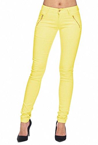 Arizonashopping - Hosen Pantaloni In Tessuto Da Donna Tube Treggings Skinny Fit D1943 Giallo