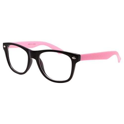Kids Nerd Fake Glasses Clear Lens Colored Arms Geek Costume Children's (Age 3-10) - Glasses Fake Kid