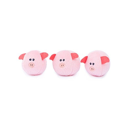 ZippyPaws - Farm Pals Burrow, Interactive Squeaky Hide and Seek Plush Dog Toy - Bubble Babiez Pigs Miniz, 3 Pack (Round Dog Toys)
