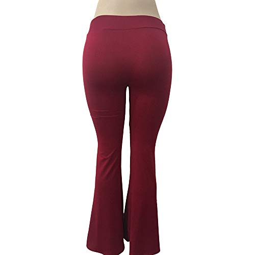 vita Elastici Pantaloni Tinta Scuro Svasati Eleganti Mambain Donna kz6 Da Pantalone Alta Rosso Unita ngqIaBwYd