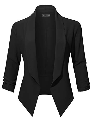 (LE3NO Womens Casual Office Open Front Ruched 3/4 Sleeve Cardigan Blazer Jacket, Black, Small)