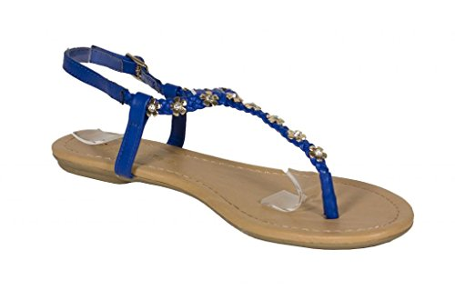 Lustacious Womens Fibbia Slingback In Metallo Fiore Tempestato Di Cinturino A Treccia Piatta Sandalo Blu In Similpelle