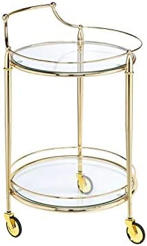 Major-Q 31 H Modern Style Round 5mm Clear Tempered Glass Top Gold Finish Metal Frame Kitchen Island Wine Serving Cart with 3 Caster Wheels